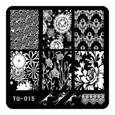 DIY Nails Stainless Steel Stamping Plates Chrysanthemum Rose Flower Konad TU15