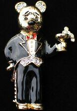 NEW YEARS CHAMPAGNE WEDDING BLACK TIE PARTY BUTLER TEDDY BEAR PIN BROOCH JEWELRY