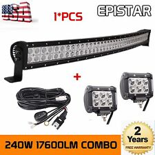 42'' 240W LED Light Bar Curved Off Road Truck Jeep Ford+2x4'' 18W Lights+Harness