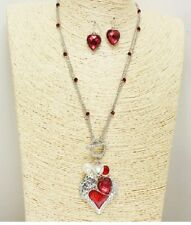 Silver and Red Heart Pearl Charm Pendant FASHION Necklace Set