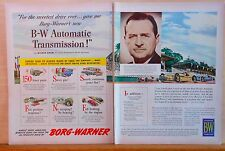 Two page 1950 magazine ad for Borg-Warner Transmission - Wilbur Shaw Indy winner