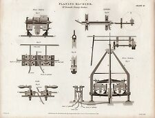 1814 GEORGIAN PRINT ~ PLANING MACHINE ~ MR BRAMAH'S EQUIPMENT & PARTS