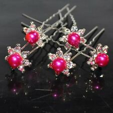 SET OF 5 Hair pins STAR PINK Wedding Flower Pearl Strass Pink FUCHSIA Tiara NEW