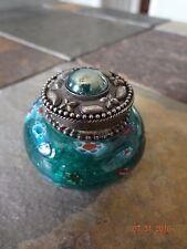 Brass Art Glass Trinket Keepsake Box * Jeweled * Lidded * Felt Lined * Unique
