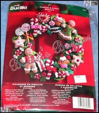 Bucilla COOKIES & CANDY WREATH Felt Applique Christmas Kit - Gingerbread