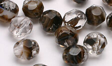 50 Cafe Mocha Swirl Faceted Round Glass Beads 6MM