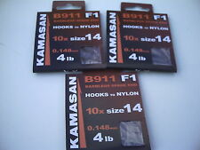 30 x B911 F1  Barbless Hooks to Nylon Size 14.  New. Perfect For All Small Carp.
