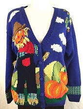 Alexandra Barlett Scarecrow Pumpkin Cardigan Sweater Fall Autumn Halloween Sz L