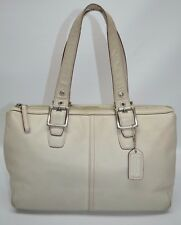 Coach Soho White Leather Small Top Zip Satchel Tote Purse 9545