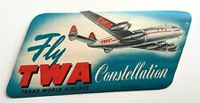 Vintage TWA Luggage Label Fly TWA Constellation
