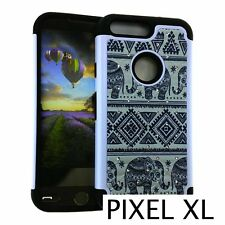 For Google Pixel XL - Hard&Soft Hybrid Diamond Bling Case Cover TRIBAL ELEPHANTS