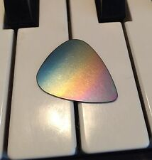 100% Titanium Rainbow Guitar Pick.  Metal USA Pride Silver Brass Copper