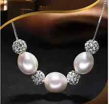 """GW Natural White AAA+8-9MM Oval shape  pearl necklace chain 18"""" long"""