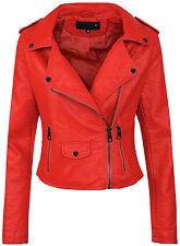 Ladies Biker Faux Leather Jacket Women's Between-seasons Look D-286 36-42