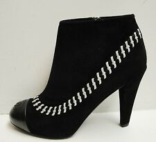 NIB Chanel 14A Black Suede White Stitching Ankle Boots Booties Heels Shoes 37.5