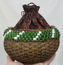 Vintage Sewing Basket Glass Beads Printed Fabric Top w String Closure 1930s-40s