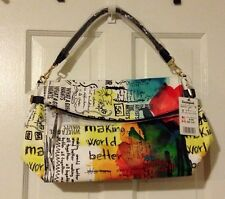 DESIGUAL Ibiza Painter NWT Artsy Graffiti Colors Coated Canvas Bag Brand New