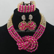 New Fuchsia Gold Crystal Necklace Nigerian Beads African Wedding Jewelry Sets