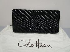 Cole Haan Black Woven Patent and Suede Over-Sized Clutch