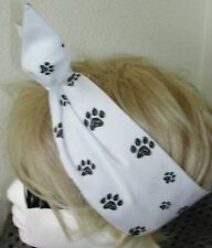 DOG & CAT PAW PRINTS 50s Style Rockabilly Pin Up Head Scarf