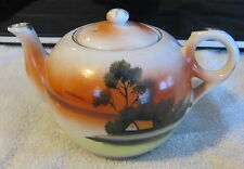 Vintage TAKITO Japanese TT Orange Lusterware Tea Pot Hand Painted Made In  Japan