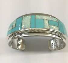 Native American Sterling Silver Hand Made Zuni Turquoise & Opal Cuff Bracelet