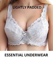 NEW LACE UNDERWIRED LIGHTLY PADDED SUPPORT BRA,BLACK & WHITE, 34-40, B C D DD E