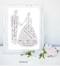 PERSONALISED WEDDING DAY WORD ART  KEEPSAKE SPECIAL BIG  DAY MARRIAGE HIS HER