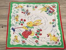 CHILDRENS Hanky Handkerchief RABBIT BUNNY GARDENING TOMATOES WITH HOE 8 1/2""