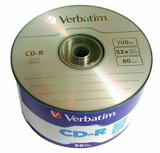 50 VERBATIM Blank CD-R CDR Logo Branded 52X 700MB 80min Recordable Media Disc