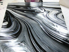 BLACK JACK ART DECO Swirl Stained Glass SHEET or Mosaic Tiles STUNNING!
