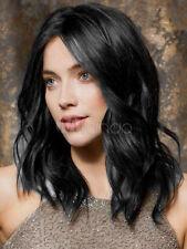100% Real Hair! New Black Medium Natural Wavy Wig Human Hair