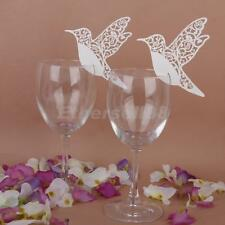 50x Beauty Love Bird Wine Glass Place Name Cards Wedding Party Table Decor