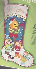 Jumbo Vintage Winter's Playmates Bird House Snow Felt Stocking Kit Bucilla 2810