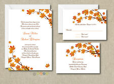 100 Personalized Custom Fall Autumn Wedding Invitations Set