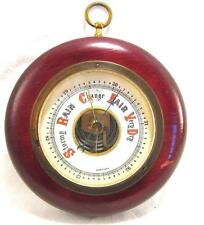 Vintage Round Wood Barometer Made In Germany Weather Gauge