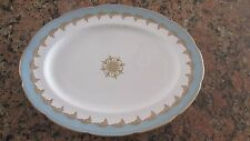 "FOLEY CHINA 13 1/4"" SERVING PLATTER 3087 Aqua Border,Gold Laurel Ring,Scalloped"