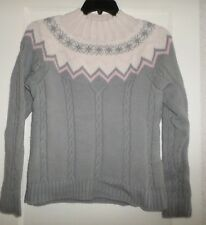 KATE HILL FAIR ISLE CABLE KNIT MOCK TURTLENECK SWEATER  MISSES XL