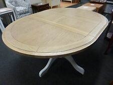 New Light Grey & Oak Round Pedestal Extending Dining Table *Furniture Store*
