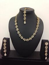 New White and Gold Necklace Earring Set Head Piece Jewellery Indian Bollywood