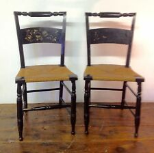 Pair Antique HITCHCOCK CHAIR TURTLE BACK Black Gold Spindle Rush Seat