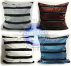 LARGE SET OF 4 VELVET STRIPE CUSHIONS AND COVERS FILLED