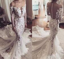 2017 New Stunning Lace Applique Mermaid Wedding Dress Bridal Gown Custom Size