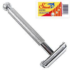 Parker 29L LONG HANDLE Butterfly Safety Razor & 5 Double Edge Blades