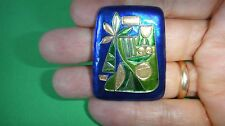 Very Rare Vintage Avraham and Pnina Gofer Enamel Signed Brooch Pin Israel