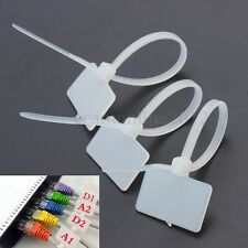 100Pcs Nylon Self-Locking Label Zip Tie Network Cable Marker Tag Cord Wire Strap