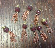 Vintage Japan Brick Round Glass Gold Bead Cap Copper Steel Tassel Drops Lot