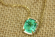 3.80ct Cushion Cut Emerald Solid Yellow Gold Necklace, Emerald Necklace 14K