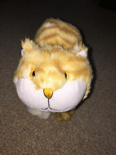 "MARKS & SPENCER GINGER CAT BEANIE FEET SOFT TOY 6.5"" TALL 8"" LONG CUTE"