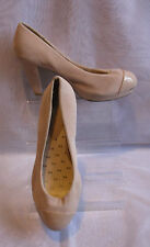 WOMENS FLEXISOLES BEIGE FAUX SUEDE BLOCK HIGH HEEL COURT SHOES SIZE:8/42(WHS27)